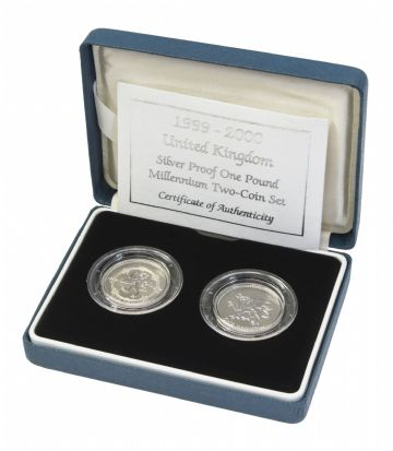 1999 AND 2000 Silver Proof One Pound Coin FROSTED VERSION
